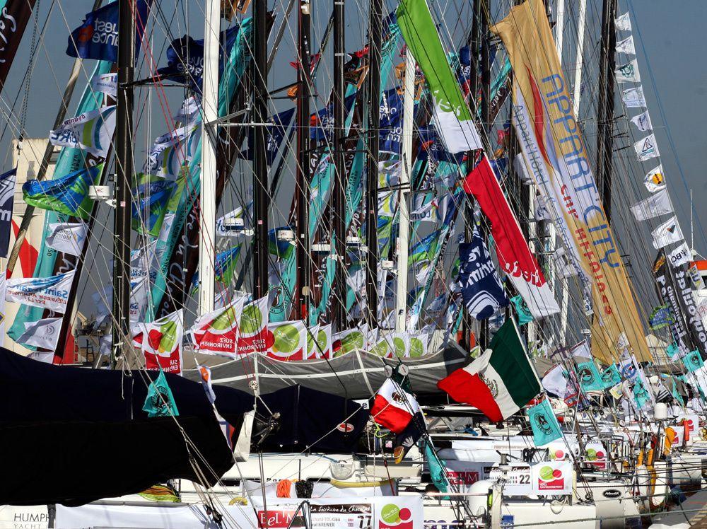 Les bateaux de la Solidaire du Chocolat 2009 dans le port de Saint-Nazaire