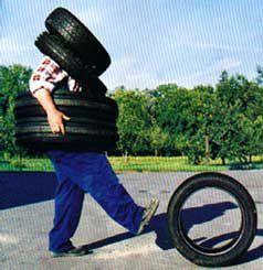 Rions un pneu,photos insolites