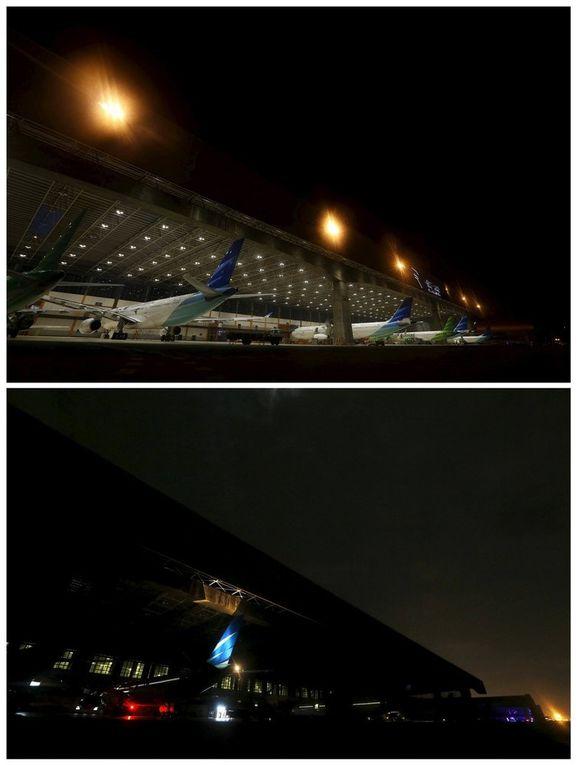 Las espectaculares imágenes de La Hora del Planeta 2016: Aeropuerto de Yakarta, Indonesia.- El Muni.