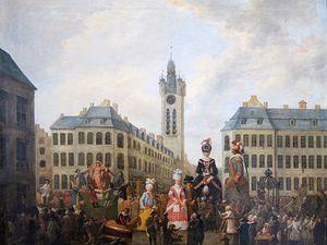 """Gayant vers 1910 (carte postale) et """"La famille du grand gayant de Douai"""" (1780) par Louis Joseph Watteau au Musée de la Chartreuse de Douai."""