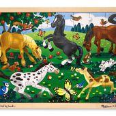 Melissa & Doug - 13801 - Puzzle - Puzzle en bois - chevaux qui s'ébattent