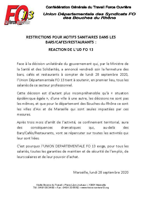 Fermetures des commerces : communiqué de soutien de l'UD FO 13