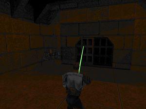 Kyle armé de son sabre-laser dans différentes situations et admirant la hauteur du barrage et du bâtiment impérial