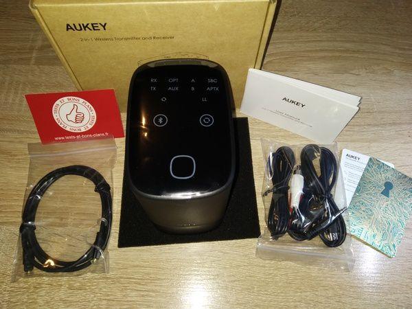 unboxing de la station audio sans fil 2 en 1 Bluetooth 5.0 apt-X Aukey BR-O8 @ Tests et Bons Plans