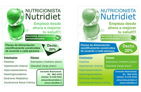 """DISEÑO DE VOLANTES PARA EMPRESA DE NUTRICION """"NUTRIDIET"""""""