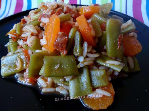 Haricots plats et carottes au riz et chorizo -LIGHT-
