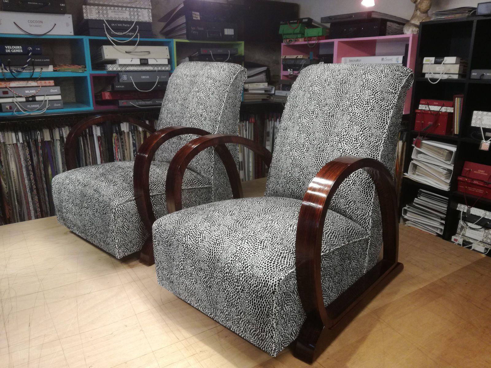 Tapissier Charente Maritime - Réfection traditionnelle deux fauteuils Art Déco