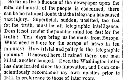 In 1858, People Said the Telegraph Was 'Too Fast for the Truth'