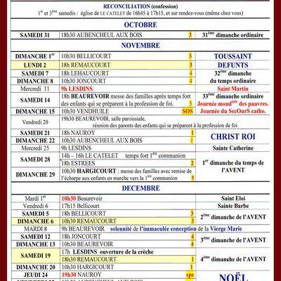 Calendrier des messes à Remaucourt en novembre et décembre prochain.