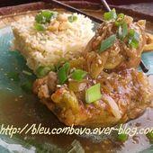 Poulet au Tamarin (Chine) et son Riz Frit au Sésame et Oignons Verts - Ma Cuisine Bleu Combava