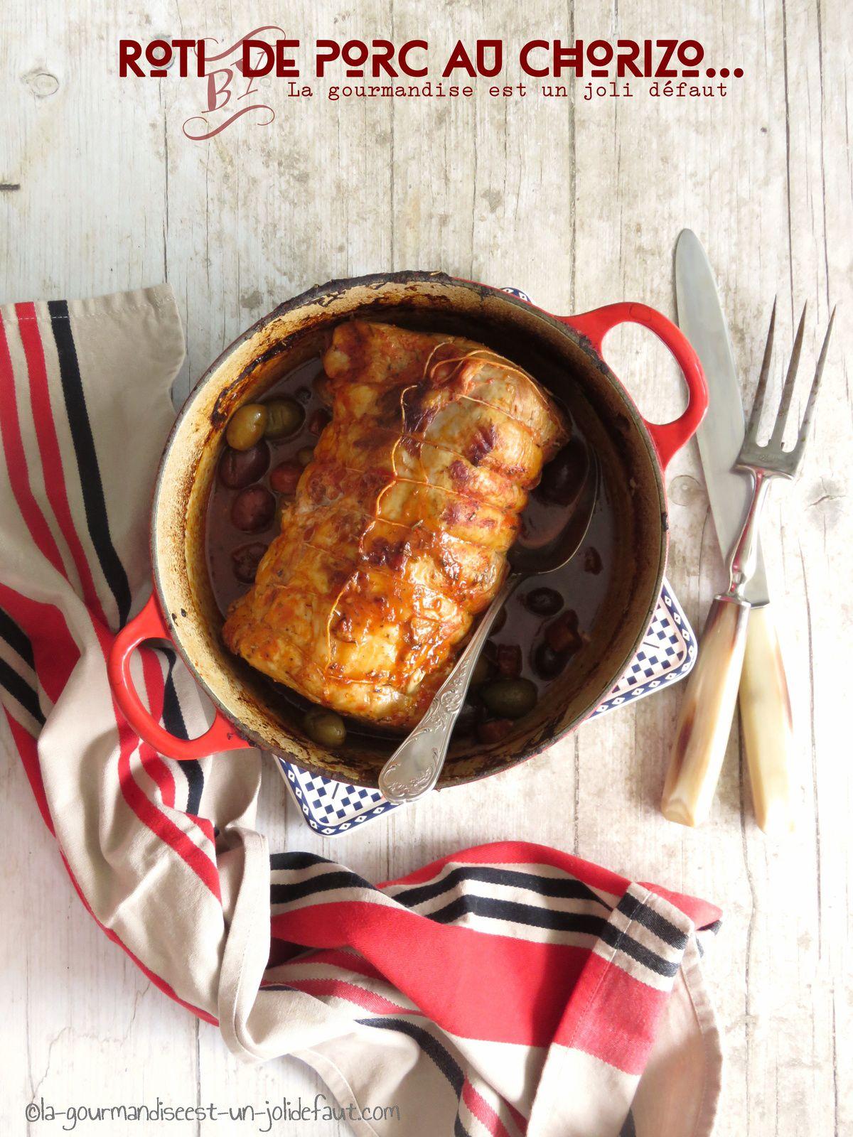 Rôti de porc au chorizo et aux olives