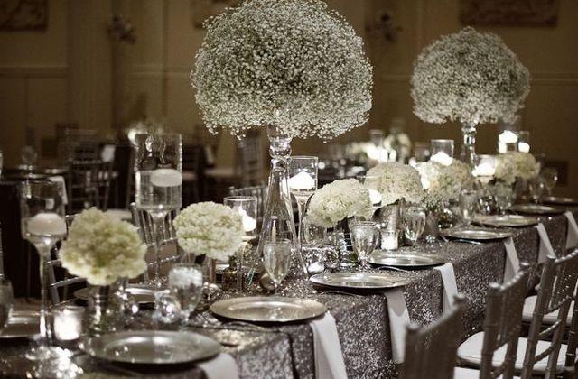 Une décoration mariage argent strass et paillettes