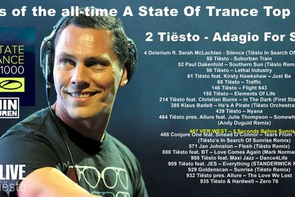Tiësto, number 2 in the top 1000 tracks of the all-time A State Of Trance