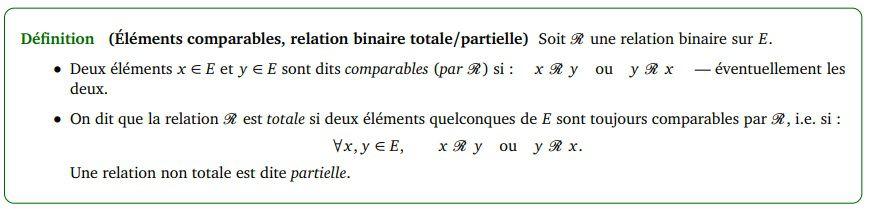 POST BAC - Eléments comparables , relation binaire totale / partielle