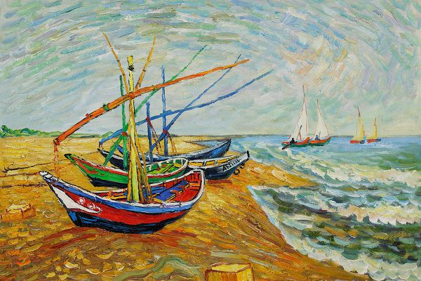 Fishing Boats on the Beach at Saintes-Maries by Vincent Van Gogh
