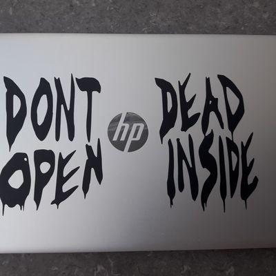Don't Open Dead Inside The Walking Dead Laptop Sticker