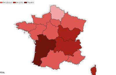 Taux de reproduction de l'épidémie : la Nouvelle-Aquitaine au-dessus de 2, notre carte de France des régions