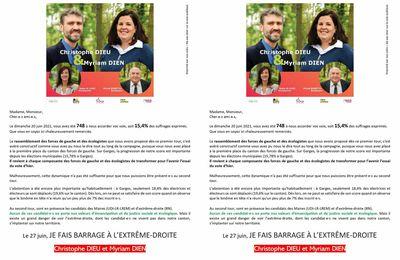 Elections departementales le 27 juin sur le canton Garges Arnouville faisons barrage à l'extrême droite.