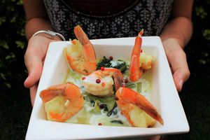Camarons (Crevettes Tropicales) en bouillon de Brèdes, Coco Curry