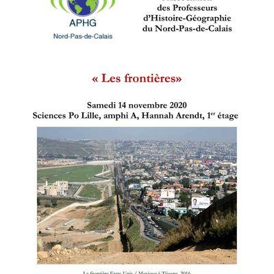 """""""Les frontières"""" au programme de la journée d'étude de la régionale Nord-Pas-de-Calais de l'APHG le 14 novembre à Sciences Po Lille"""