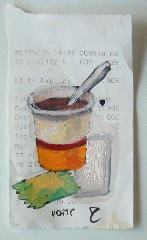Petites peintures vendues au prix indiqué sur la facturette