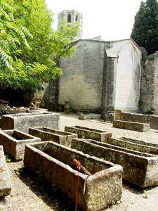 Des rangées de sarcophages.
