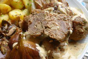 boulettes de canard coeur foie gras,figues et champignons forestiers