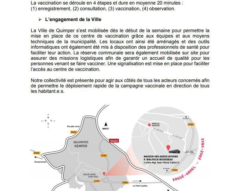 Covid-19 : le centre de vaccination ouvrira le 19 janvier à Quimper (communiqué)