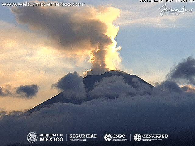 Popocatépetl  -  10.09.2021 / 19h21 - WebcamsdeMexico