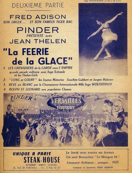 La féerie de la glace, les tournées Pinder 1953,1954 et 1955