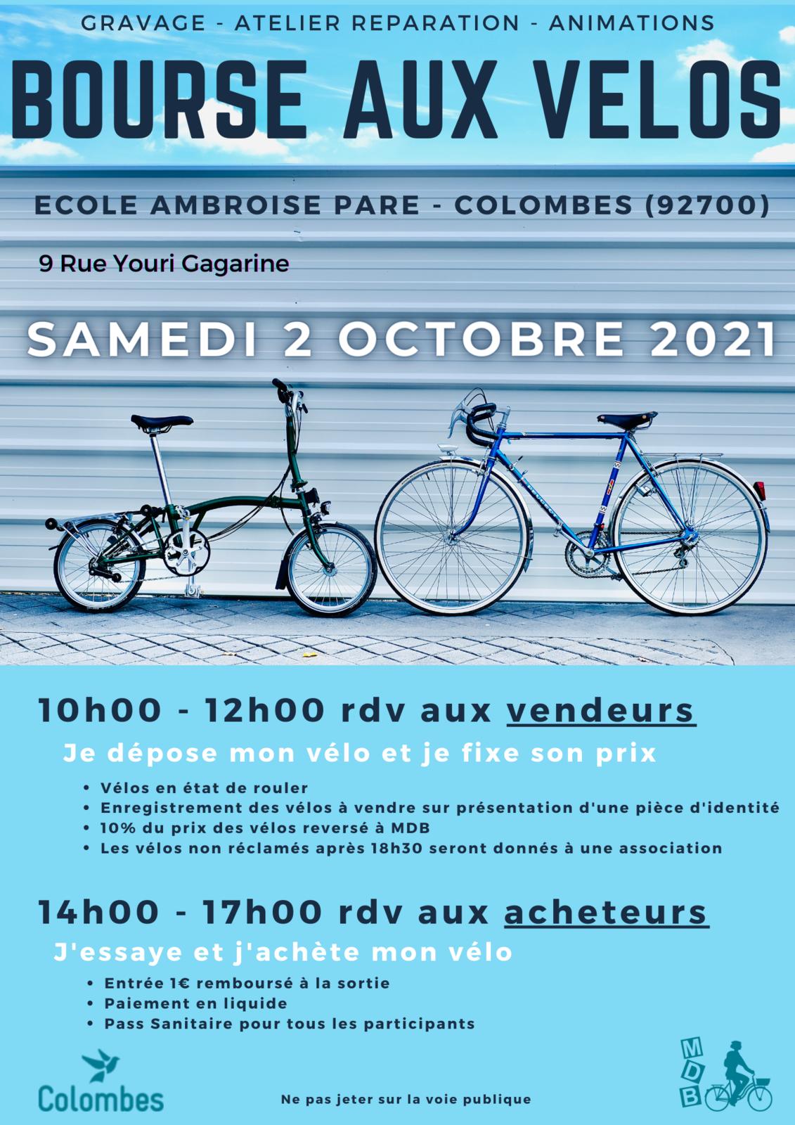 Bourse aux vélos à Colombes : samedi 2 octobre Ambroise Paré