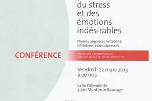 Conférence concernant le stress et les émotions.Vendredi 22 Mars.Montbrun Bocage
