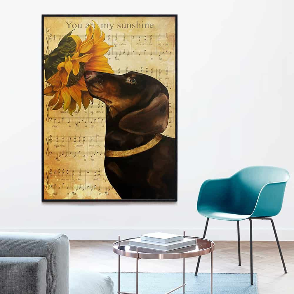 Dachshund You Are My Sunshine Sunflower poster, canvas