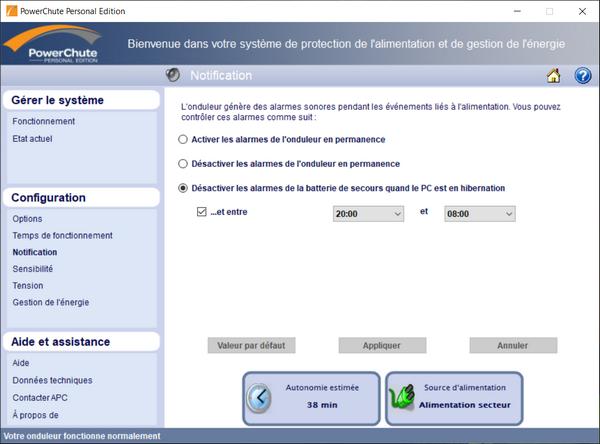 logiciel Powerchute Personnal Edition pour onduleur APC Back-UPS ES BE700G-FR @ Tests et Bons Plans