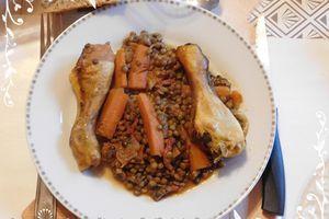 Pilons de poulet aux lentilles & petits légumes