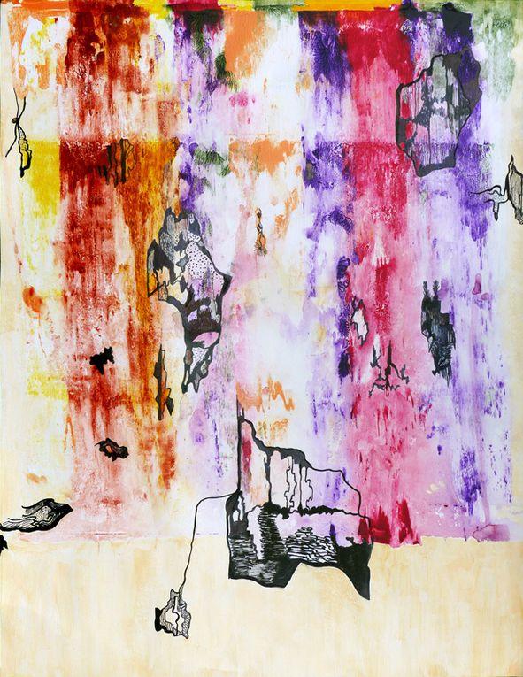 Peintures sur papier 50 x 65 cm - Effets de raclage sec ou mouillé - Dessins