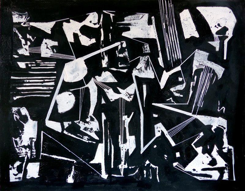 3 compositions d'Odile Montet (dessin d'après monotype et d'après collage, et collage)