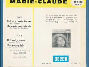 """marie claude, une chanteuse française des années 1960 qui s'illustrait avec ce morceau """"ma poupée s'est endormie"""""""