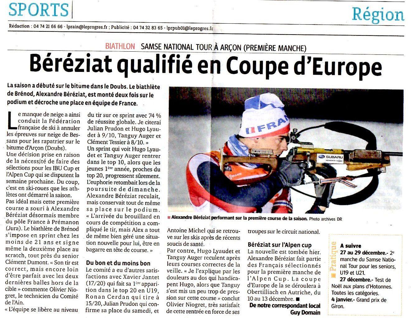 Alexandre qualifié en coupe d'Europe.