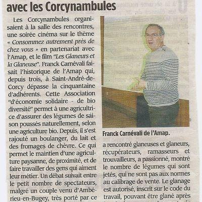 Revue de presse: café cinéma avec l'AMAP de St André