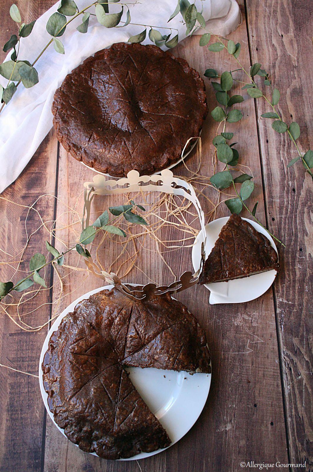 Galette des rois crème au pralin, pépites de chocolat rhum sans gluten sans lait sans œufs