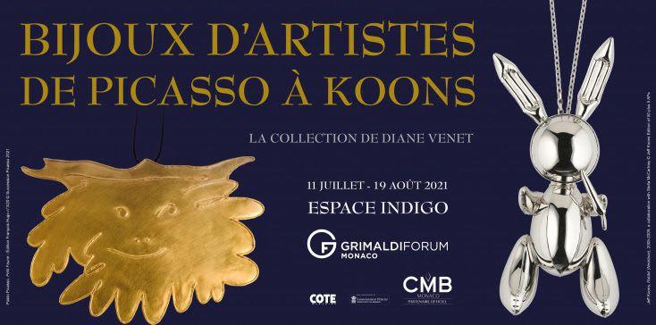 """GRIMALDI FORUM MONACO - L' exposition"""" BIJOUX D'ARTISTES, DE PICASSO À KOONS"""" -  La collection de Diane Venet ouvrira ses portes le 11 juillet prochain !"""