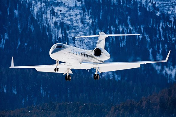 Gulfstream g450 mountains and snow background