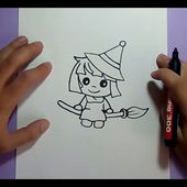 Como dibujar una bruja paso a paso 7 | How to draw a witch 7