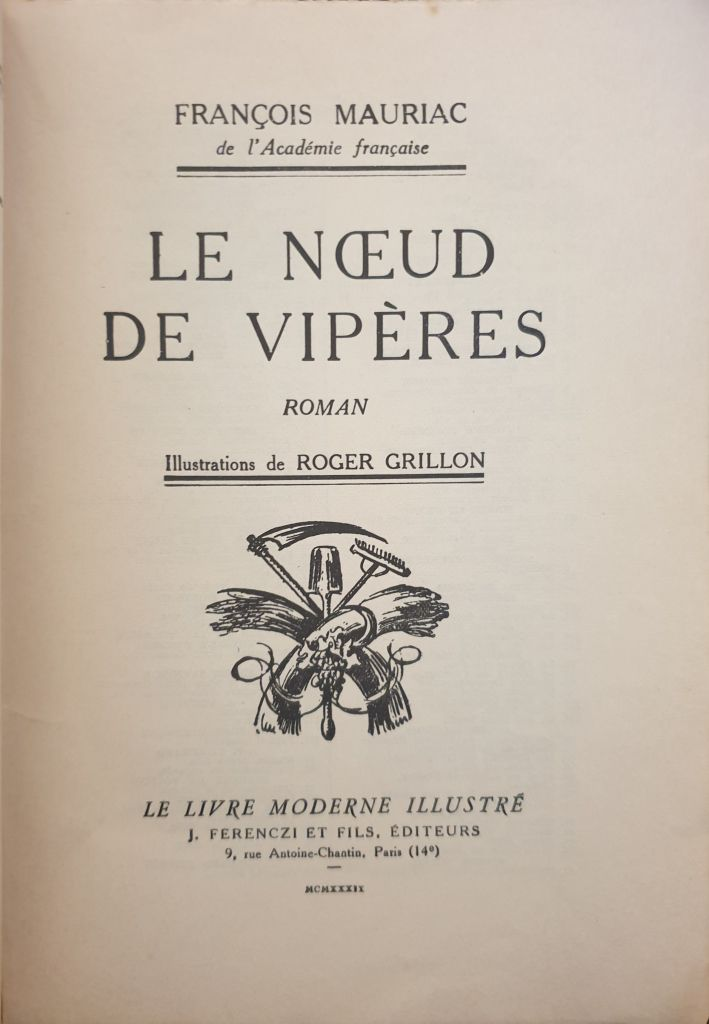 LE NOEUD DE VIPERES I François Mauriac I Ferenczi et fils I 1932 I N°231- 12 euros