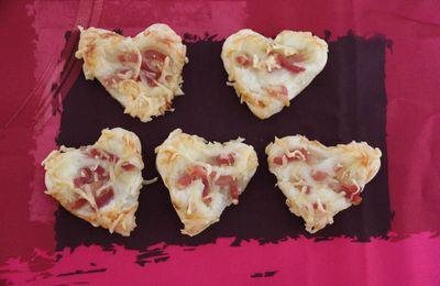 Mini Tartes flambées coeur pour l'apéro de la Saint Valentin