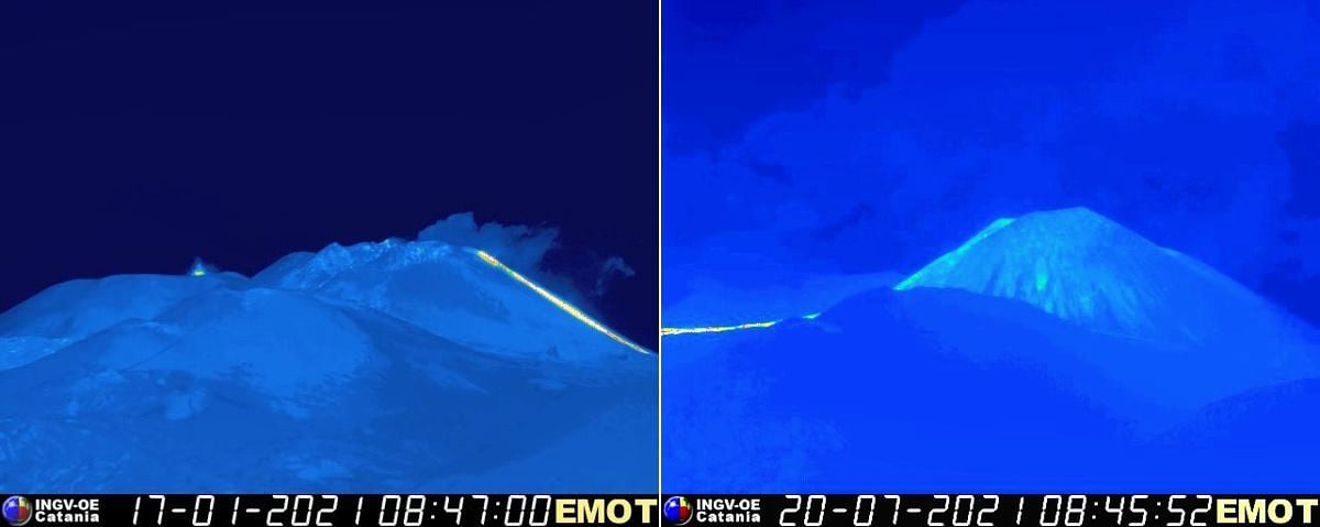 Etna south-eastern crater - images from January and 20.07.2021 showing the evolution of the SEC - comment by Boris Behncke below - EMOT / INGV OE webcam