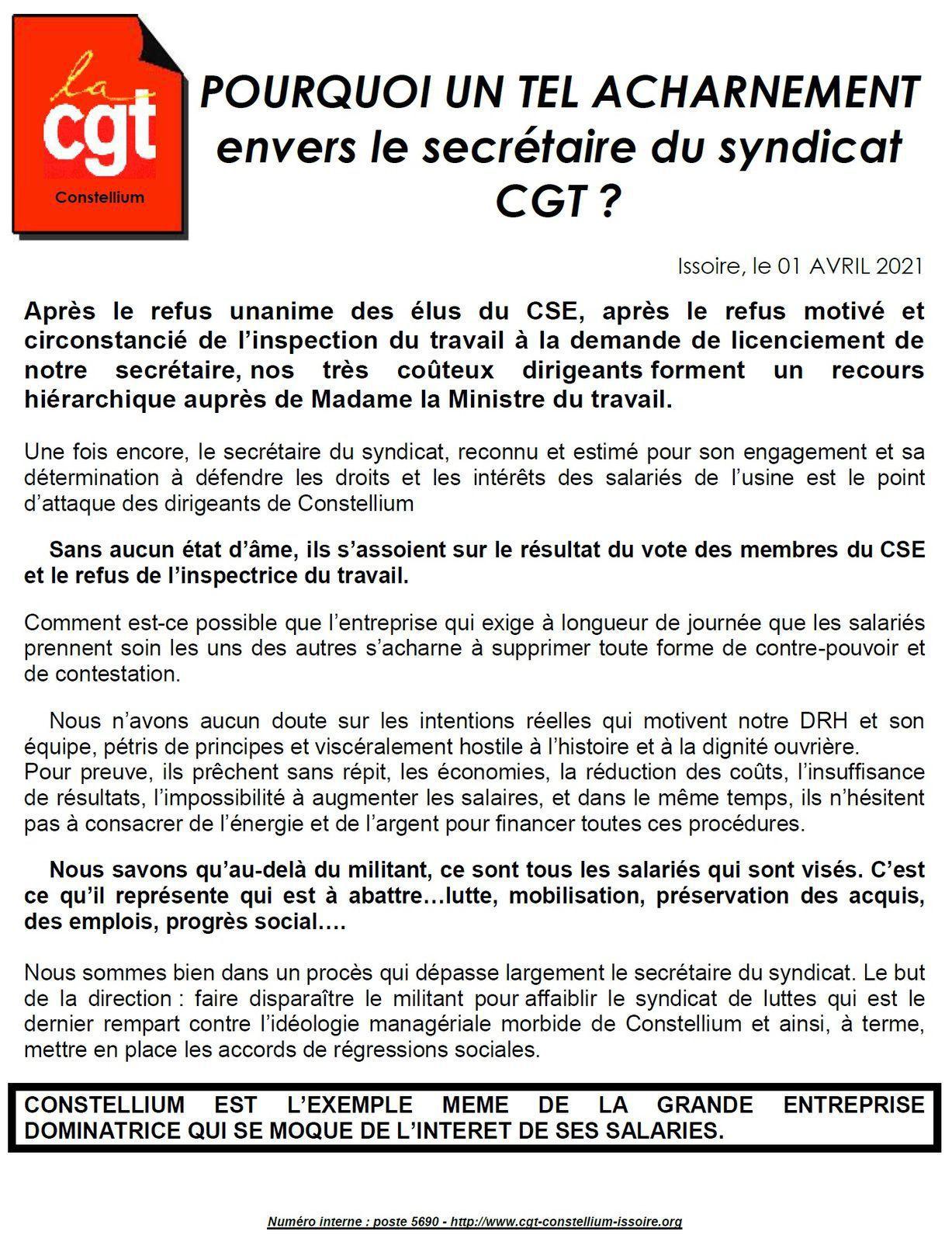 CONSTELLIUM à Issoire (Puy-de-Dôme) : acharnement anti-CGT RASSEMBLEMENT le 7 AVRIL !