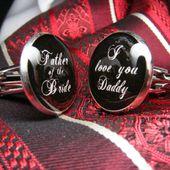 Père de la mariée, je t'aime Daddy boutons de manchette - ces boutons de manchette sont le cadeau parfait pour votre père comme un souvenir de votre mariage.