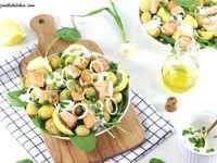 Salade de Pommes de Terre, Epinards et Saumon {Sauce au Fromage Blanc}